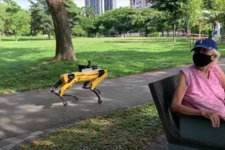 Spot the robot is reminding parkgoers in Singapore to keep their distance from one another