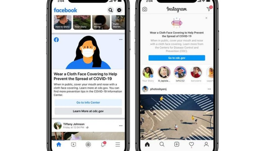 Facebook and Instagram Now Remind Users to Wear 'Face Coverings'