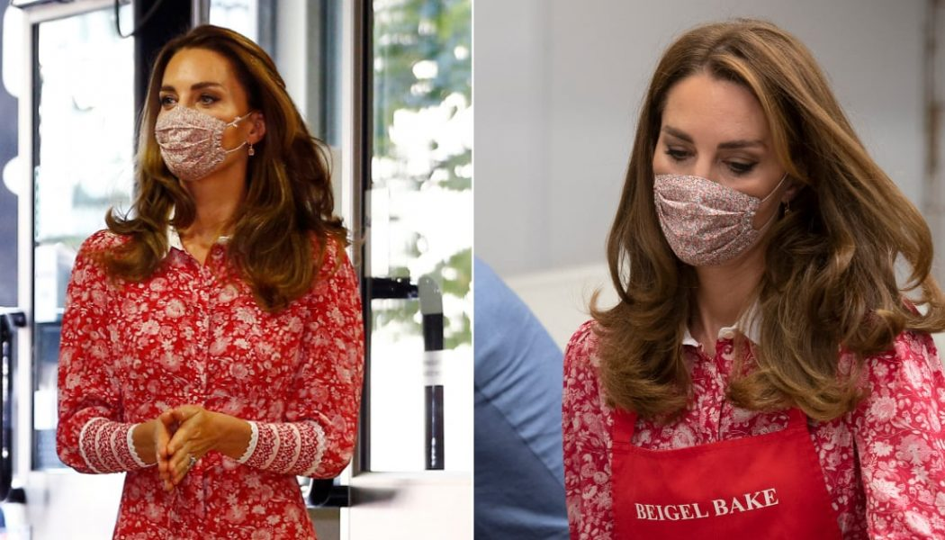 Catherine, Duchess of Cambridge Wears a Lively Red Floral Tea Dress to Visit London Muslim Centre