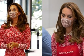 Catherine, Duchess of Cambridge Wears a Lively Red Floral Teadress to Visit London Muslim Centre
