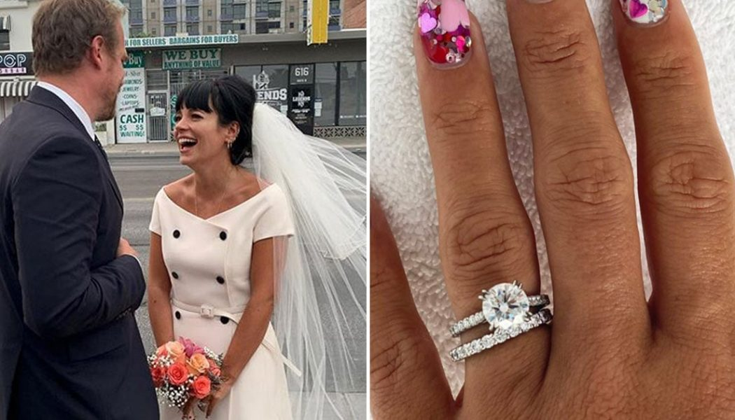 Lily Allen Is the Quintessential '60s Bride, with an Engagement Ring and Wedding Band to Match