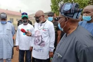 Ondo governor visits INEC office, describes fire incident unfortunate, shocking