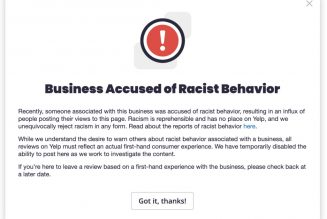 Yelp will alert users when a business has been accused of racist behavior