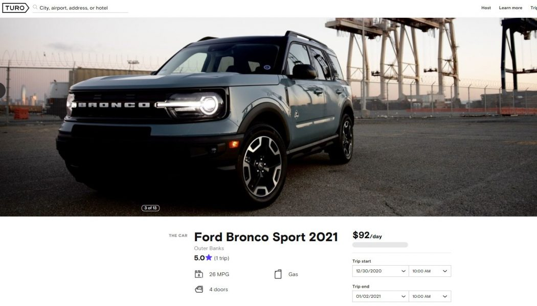 Want To Drive a Ford Bronco Sport Before Your Friends? Rent One on Turo