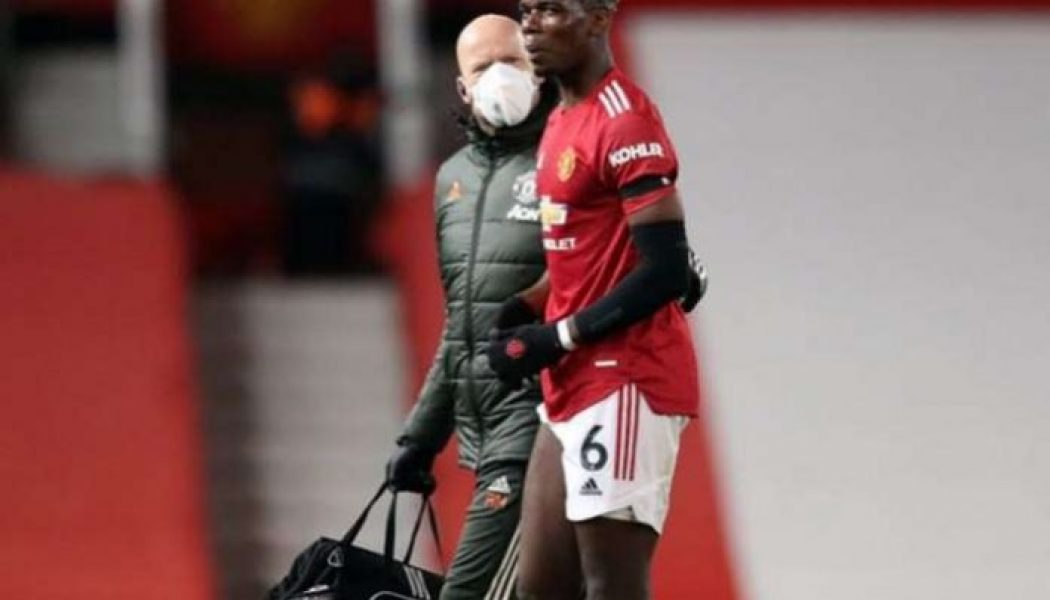 Paul Pogba limps off injured in Manchester United's clash vs Everton
