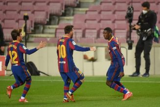 Barcelona scrape to a narrow win against 10-man Real Valladolid to go within a point of the top