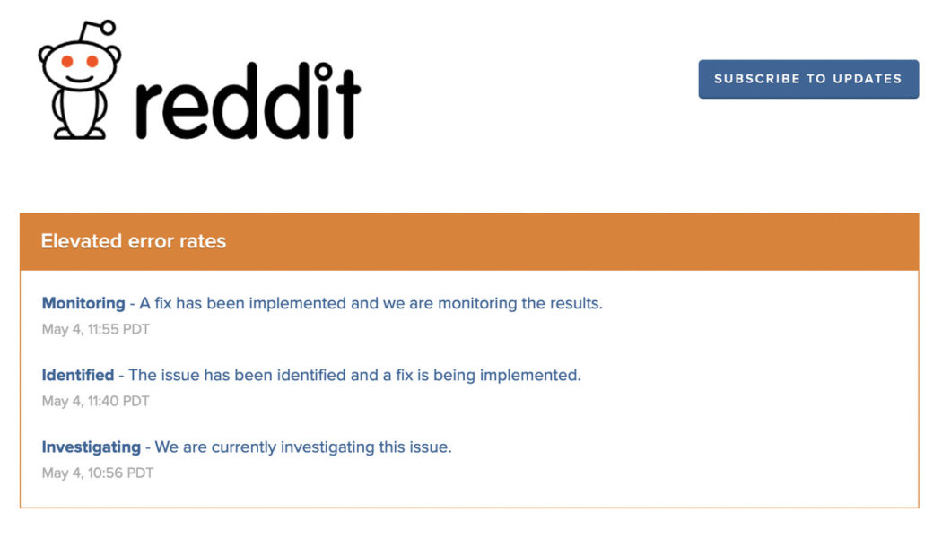 Reddit seems to be back after an almost hour-long outage