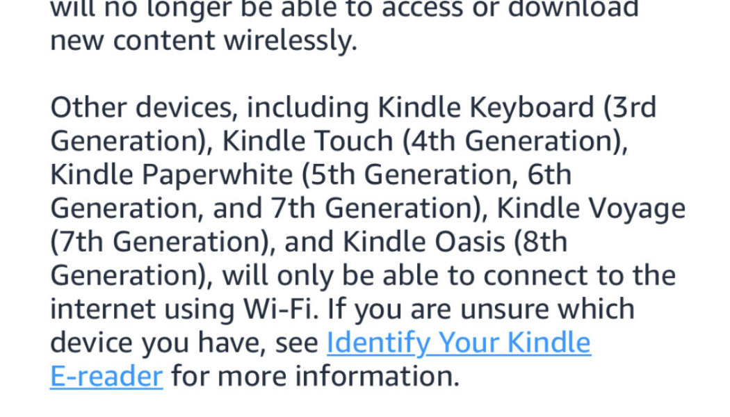 Amazon's older Kindles will start to lose their internet access in December